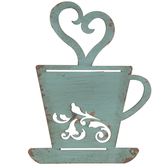 Turquoise Coffee Cup Metal Wall Decor